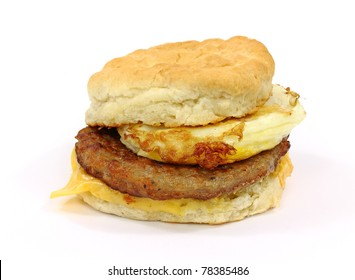 Breakfast sandwich biscuit with sausage egg and cheese.