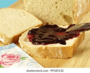 Breakfast sandwich with cherry jam