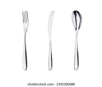 Breakfast set of fork, knife and spoon isolated on white background.