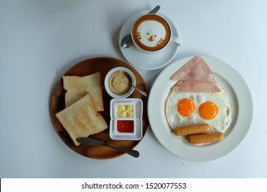 breakfast set with hot fresh coffee