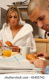 Breakfast situation with a young couple