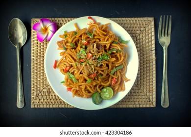 Breakfast in South East Asia, fried noodles