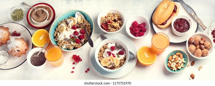 Breakfast table. Healthy breakfast ingredients. Top view
