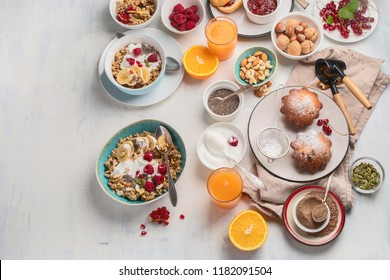 Breakfast table. Healthy breakfast ingredients. Top view with copy space