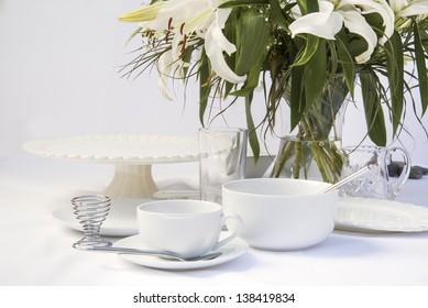Breakfast table setting with bright white crockery and lily flowers & Breakfast Table Setting Images Stock Photos \u0026 Vectors | Shutterstock
