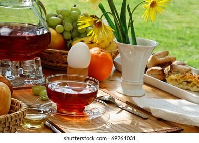 Breakfast tea and simple food in the garden.