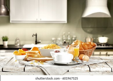 Breakfast time and kitchen place