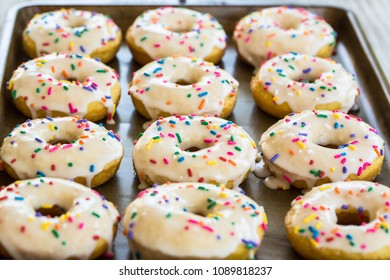 Breakfast treat of cake doughnuts with colorful sprinkles on a sheet pan