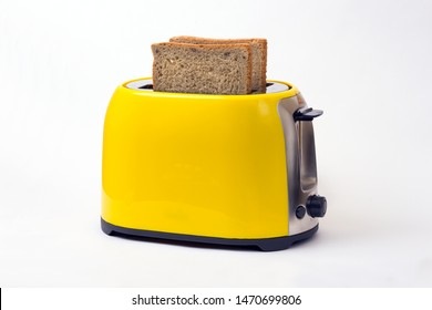 breakfast. yellow toaster on a white background