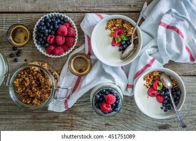 Breakfast - yogurt with berries and granola