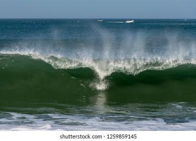 Breaking Atlantic ocean wave, Nazare, Portugal.
