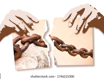 Breaking the chains - concept image with hands ripping photo of an old rusty metal chain.