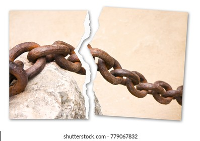 Breaking the chains - concept image with a ripped photo of an old rusty metal chain