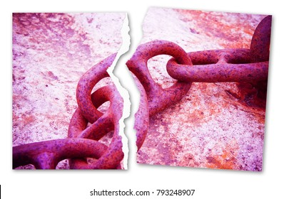 Breaking the chains - concept image with a ripped photo of an old rusty metal chain - toned image