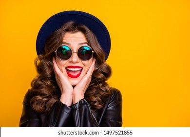 Breaking fashion news concept. Closeup photo of funny lady not believe such low shopping prices wear stylish outfit isolated yellow background