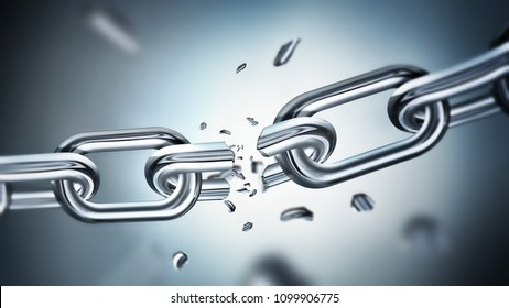 Breaking metal chain, concept of freedom image, 3D design