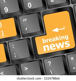 breaking news button on computer keyboard pc key, raster