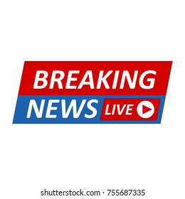 Breaking News Logo, Live Banner.TV news, Mass media design.
