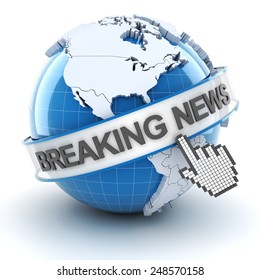Breaking news symbol, 3d render, white background