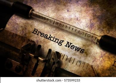 Breaking news text on typewriter