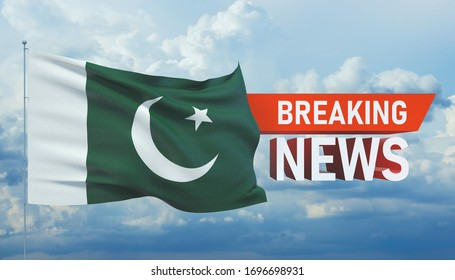 Breaking news. World news with backgorund waving national flag of Pakistan. 3D illustration.