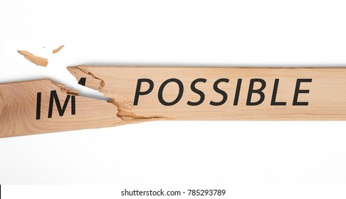 """breaking off a piece of the plate with the word """"impossible"""" and gets the word """"possible"""""""