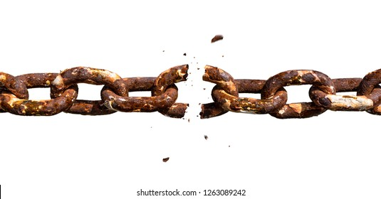 Breaking old rusty chain. Weakest link concept photomontage