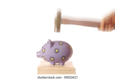 Breaking Piggy Bank with Hammer