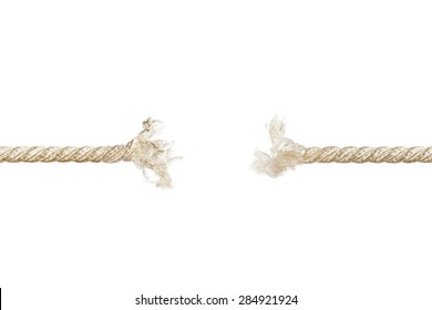 Breaking rope isolated on white background