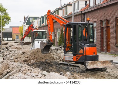 Breaking up the street to renew the sewerage - horizontal image