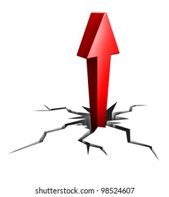 Breaking through to success as a financial and business icon of moving upward to opportunity and career promotion as a professional with clear focused drive as a red arrow and broken cracked floor .