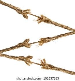 breaking torn damaged hemp ropes isolated on white background