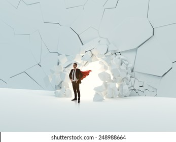 Breaking wall leadership concept