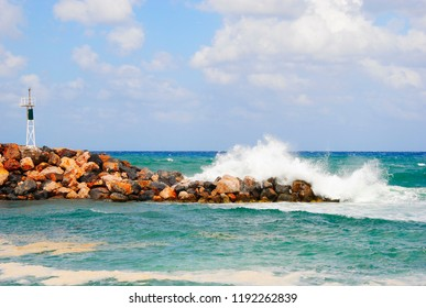 breaking wave at the coast of Sisi, a village on Crete in Greece