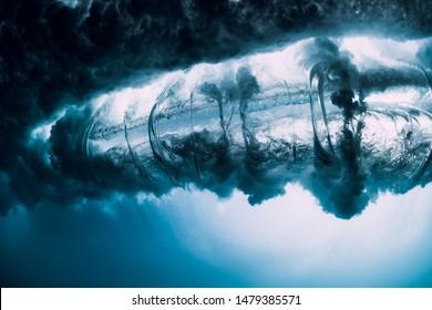 Breaking wave with vortex in underwater. Ocean element in underwater