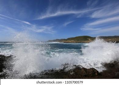 Breaking Waves at Argentina, Sardinia, Italy