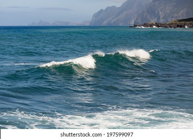 Breaking waves at coast of Madeira Island, Portugal