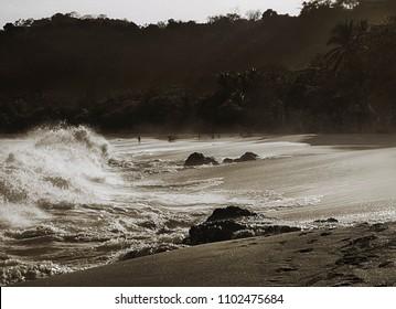 Breaking waves on beach in Costa Rica