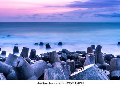 Breaking waves on Glagah beach Kulonprogo Yogyakarta