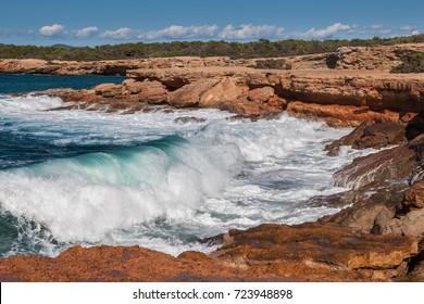 Breaking waves on the rocks