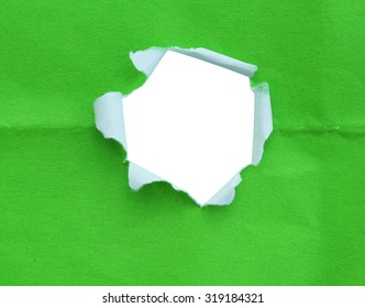 Breakthrough green paper hole