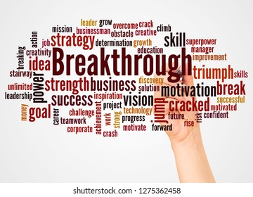 Breakthrough word cloud and hand with marker concept on white background.