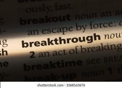breakthrough word in a dictionary. breakthrough concept.