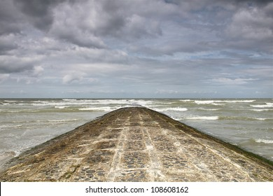 A breakwater at the Belgian coastline