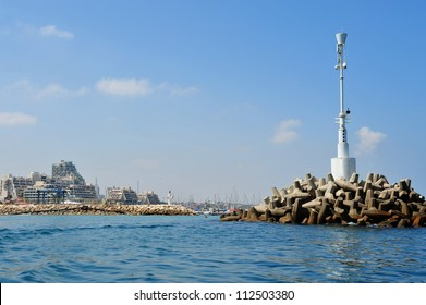 The breakwater at the entrance of Ashkelon marina in Ashkelon, Israel.