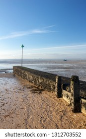 Breakwater on Thorpe Bay beach near Southend-on-Sea, Essex, England