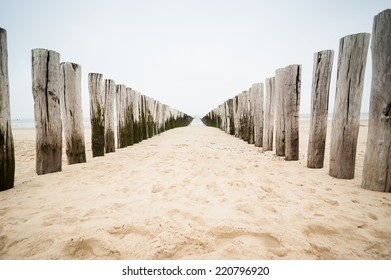 breakwaters  on the beach at the north sea in Domburg, Zeeland, Holland