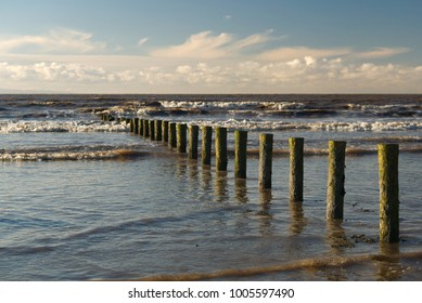Brean beach moss covered weathered posts providing a leading line into the sea. Bristol channel. Peaceful coastal concept