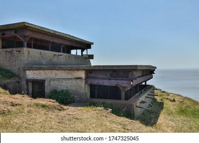 Brean, Burnham-on-Sea, Somerset / UK - May 30, 2020: Remaining of the WWII Second World War gunnery observation post at Brean Down fort near Weston super Mare Somerset