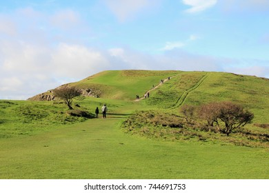 Brean Down Coastal Walk, England - October 28, 2017: Great landmarks of the Somerset coastline on the scenic coastal walk across Brean Down.